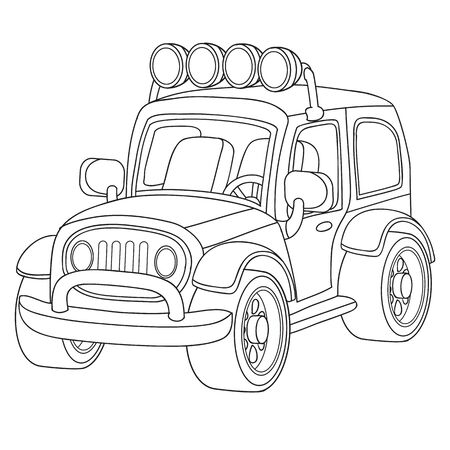 car with lights over the cab in black outline, isolated object on a white background,