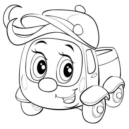 cute truck character in a cap and with a big bang in outline, isolated object on a white background,