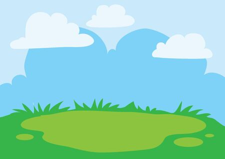 background of blue sky and green glade, summer landscape, warmth, joy, vector illustration