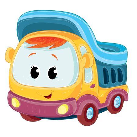 caractère de camion mignon multicolore se dresse isolé sur fond blanc, illustration vectorielle