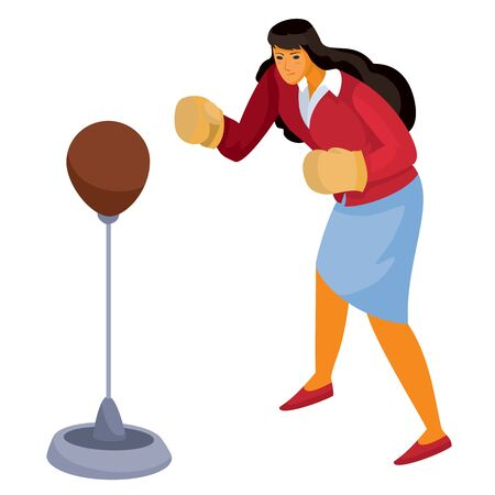 woman in office clothes stands in front of us and hits a sports punching bag with boxing gloves, aggression, defense, assault, isolated object on a white background, vector illustration Archivio Fotografico - 138166443