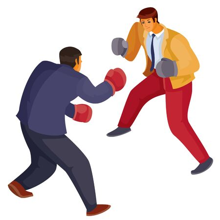 two men in office clothes box with each other, aggression, defense, argument, assault, discussion, isolated object on a white background, vector illustration Archivio Fotografico - 138166444