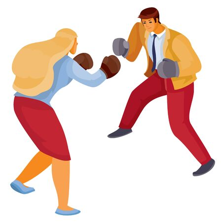 man and woman in office clothes box with each other, aggression, defense, argument, assault, discussion, isolated object on a white background, vector illustration Archivio Fotografico - 138166445