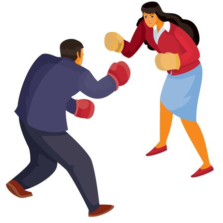 man and woman in office clothes box with each other, aggression, defense, argument, assault, discussion, isolated object on a white background, vector illustration Archivio Fotografico - 138166447