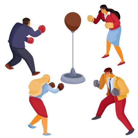 men and women in office clothes face each other a sports punching bag with boxing gloves, aggression, defense, attack, isolated object on a white background, vector illustration Archivio Fotografico - 138166452