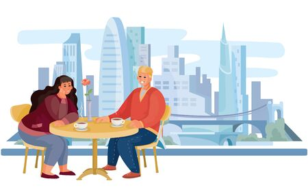 against the background of the big morning city, a guy and a girl are sitting, they have a date or a business meeting, breakfast, lunch, vector illustration