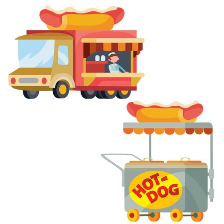 food truck and street cart sell hot dogs, isolated object on a white background, vector illustration