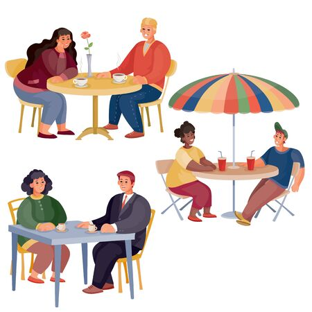 set of pairs of men and women who are sitting at different tables, round, square, with an umbrella, isolated object on a white background, vector illustration Vektoros illusztráció
