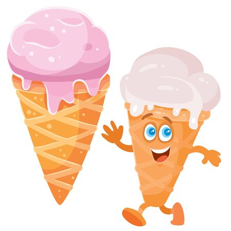 pink ice cream in a horn and a cheerful character, isolated object on a white background, vector illustration Ilustrace