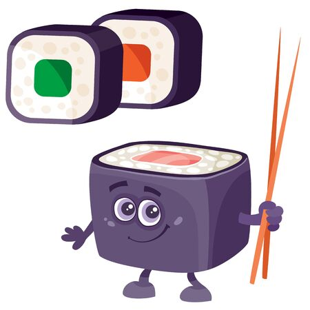 sushi and character with chopsticks, isolated object on a white background, vector illustration Ilustração