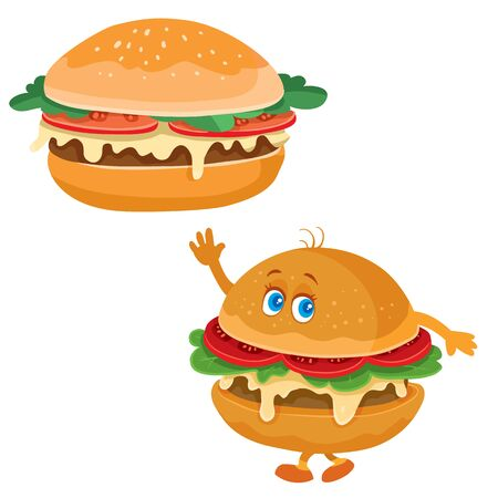 hamburger and hamburger character is waving, funny, food, fast food, isolated object on a white background, vector illustration