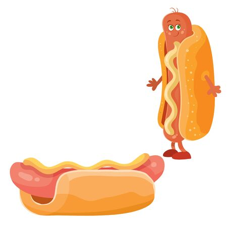 hot dog and hot dog character, isolated object on a white background, food, fast food, roll, nipple, vector illustration
