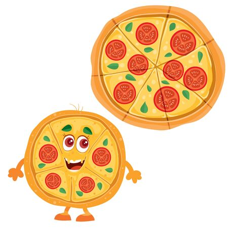 whole pizza and pizza character, food, fast food, isolated object on a white background, vector illustration