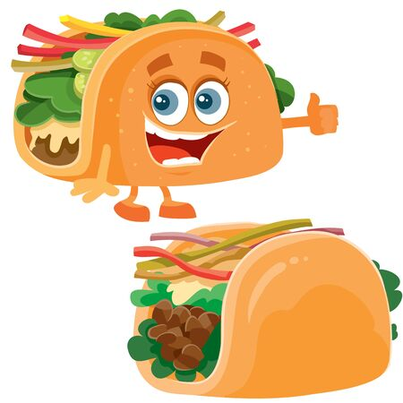 tacos food and taco character on different layers and white background, vector illustration Çizim