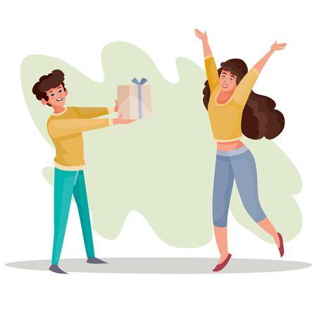 man geeft een meisje een doos met een geschenk, een meisje verheugt zich en stuitert op van geluk, verrassing, vreugde, viering, verjaardag, vectorillustratie