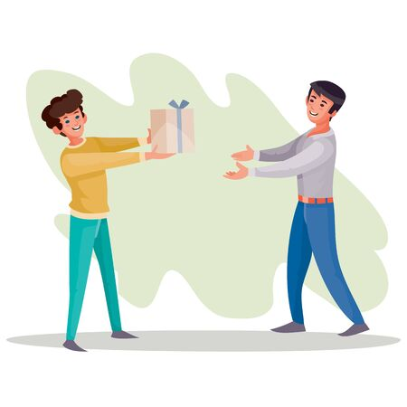 man gives a guy a box with a gift, surprise, joy, holiday, birthday, vector illustration 向量圖像