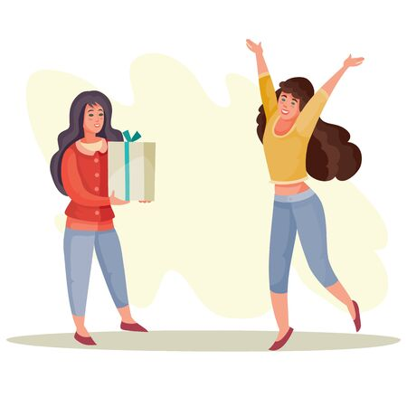 woman gives girl a box with a gift, girl rejoices and jumps from happiness, surprise, joy, celebration, birthday, vector illustration Ilustrace