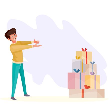a man sees in front of him a lot of boxes with gifts and goes to them, surprise, holiday, birthday, vector illustration