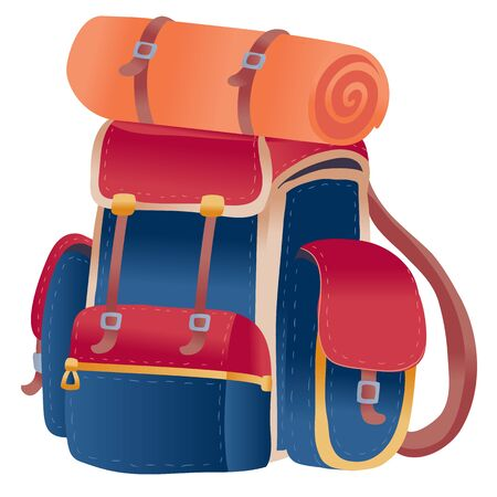 big backpack in red and blue colors for hiking and traveling fully assembled and ready for what would take with you, isolated object on a white background 일러스트