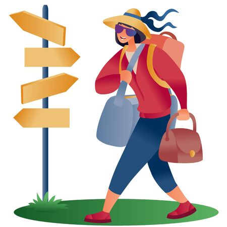woman with a backpack and bags in a hat steps in big steps past a post with pointers, separate layers,