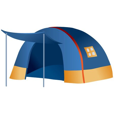 camping tent blue and round, isolated object on a white background, Illustration