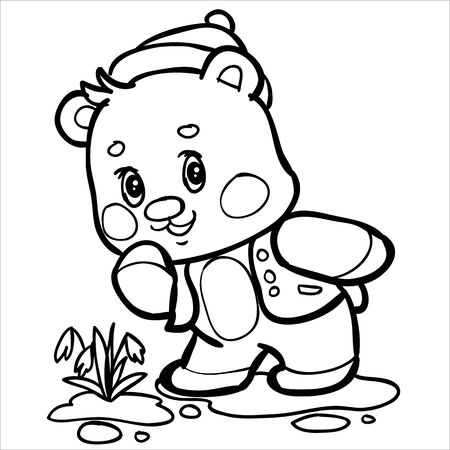 teddy bear character in clothes and a black outline for interest looks at a flower that grows near his feet, vector illustration