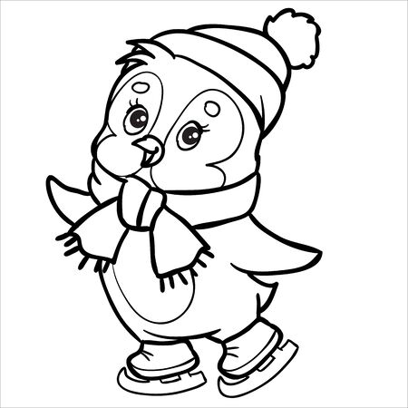 penguin character made in outline skates wearing a hat and scarf, isolated object on a white background, vector illustration Çizim