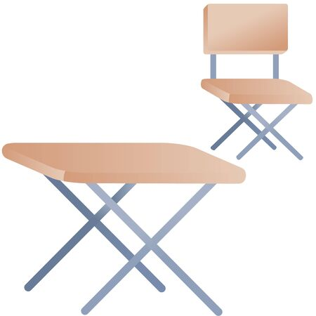 set of table and chair for camping or for a summer house, isolated object on a white background, vector illustration