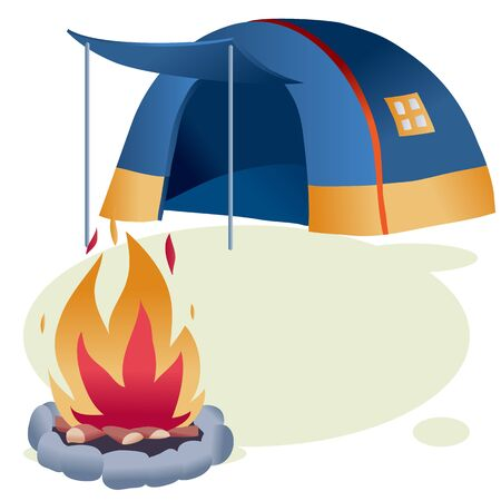 tent and bonfire during a camping trip, vector illustration