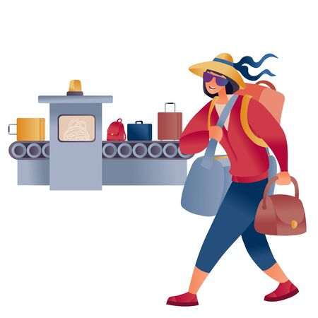 a woman in a hat and laden with bags goes past the tape with luggage at the airport,
