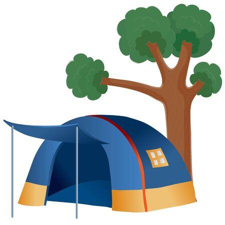 under a big green tree there is a big blue tent, vector illustration Banco de Imagens - 138417032