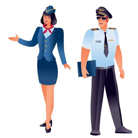stewardess and pilot stand nearby, couple, isolated object on a white background,