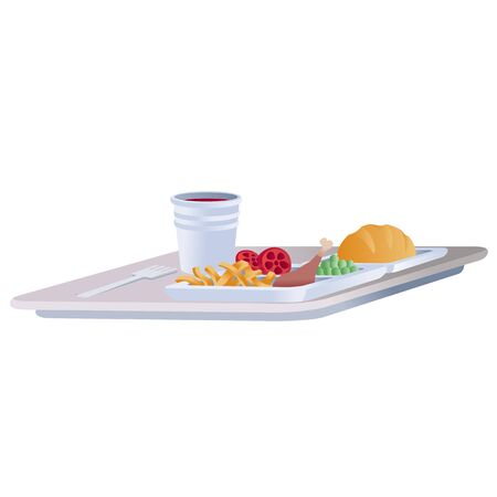 food is standing on a tray for an airplane, isolated object on a white background, Foto de archivo - 138468745