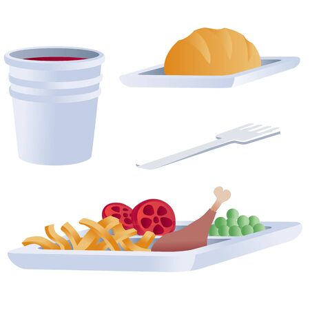 set of food for airplane, isolated object on a white background, Foto de archivo - 138468760