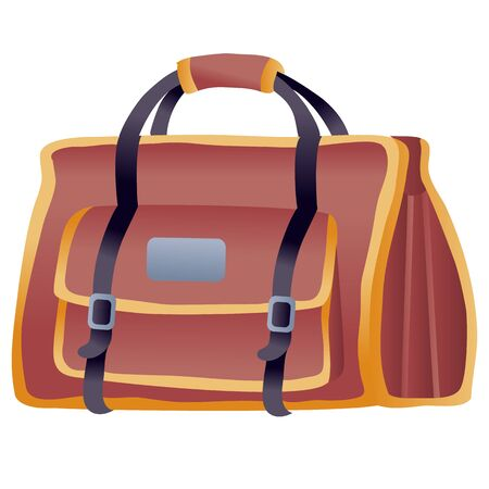 big brown travel bag as hand luggage, isolated object on a white background, vector illustration