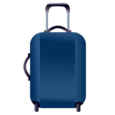 blue travel suitcase, isolated object on a white background, vector illustration