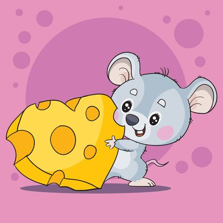 cute gray mouse character holds in his paws a piece of cheese in the shape of a heart, love, holiday,