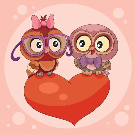 two cute owls are sitting on a big red heart and declare their love in each other,
