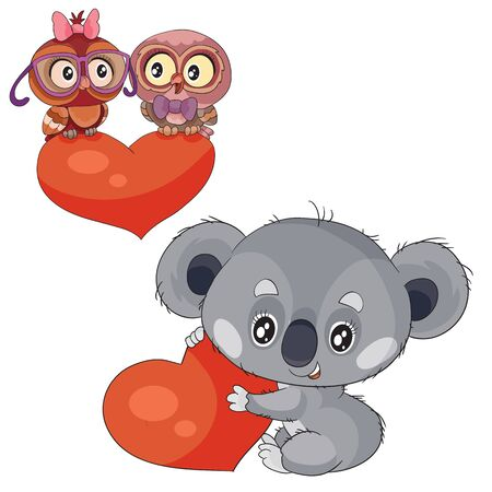 set of koalas with hearts and owls sitting on a heart, isolated object on a white background,