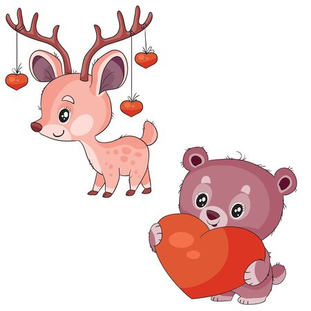 set of cute bear with heart and deer whose horns are decorated with hearts, isolated object on white background,