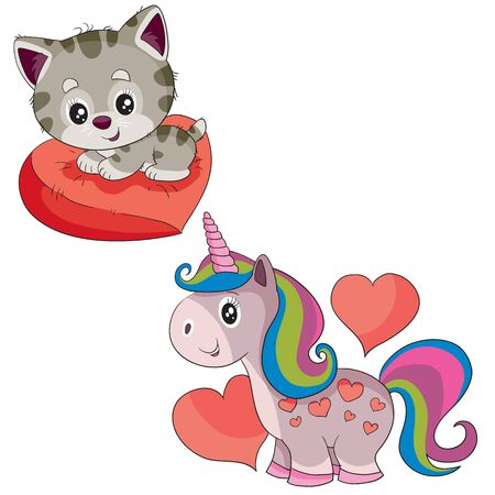 set of cute kitten sitting on a pillow in the shape of a heart and a unicorn, isolated object on a white background