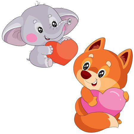 set of elephant and fox holding big red hearts in their paws, isolated object on a white background,