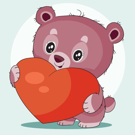 cute little bear character hugs a big red heart and wants to give it for a holiday as a sign of love, vector illustration Vetores