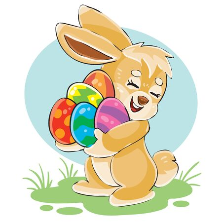 cute bunny holds in its paws a lot of Easter eggs painted in different colors,