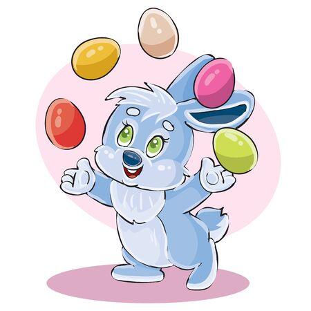cute bunny juggle easter eggs, vector illustration