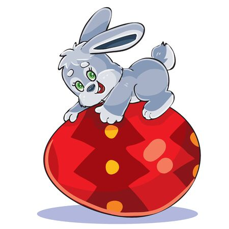 cute bunny lies on a big beautiful Easter egg painted red, vector illustration