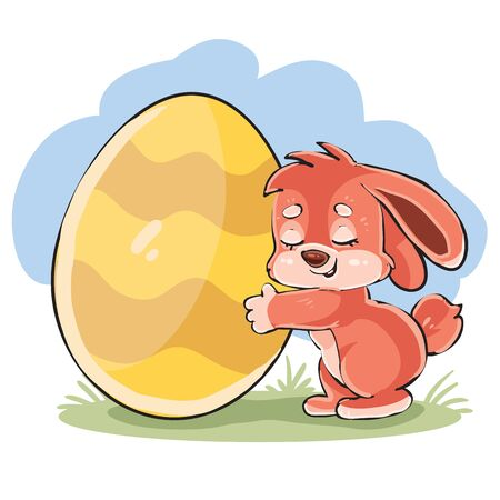 cute bunny tenderly hugs a big easter egg,