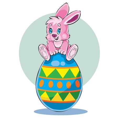 cute bunny sitting on top of a large Easter egg painted in different colors, vector illustration Illusztráció