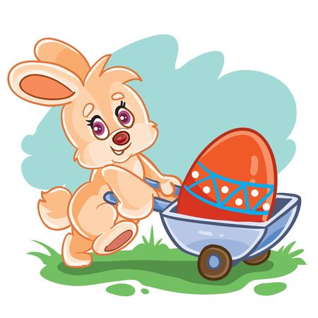 cute bunny carrying a big Easter egg painted in different colors in a trolley, vector illustration