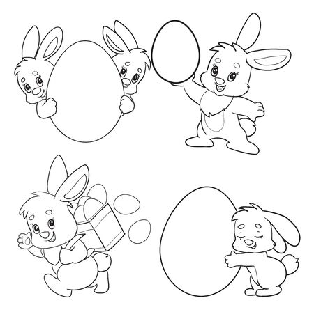 set of easter hares with eggs, drawn in black line, all on separate layers, Illusztráció
